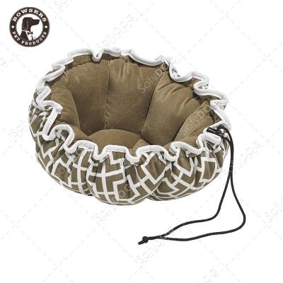 BOWSERS杯型極適寵物床-極簡方格(棕)-L