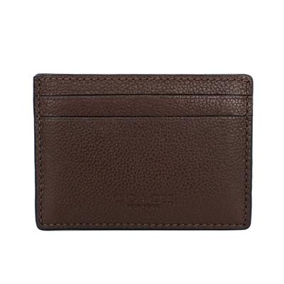 COACH深咖啡全皮背扣名片/票卡夾