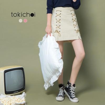 東京著衣 甜美交叉綁帶短裙-S.M.L(共二色)
