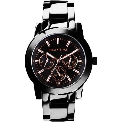 Relax Time 時尚達人日曆顯示腕錶-IP黑x玫塊金時標/38mm