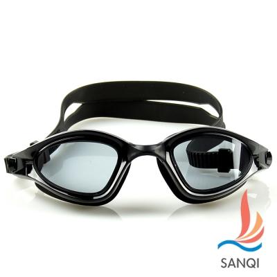 SANQI三奇 夏日必備抗UV防霧休閒泳鏡(9015-黑F)