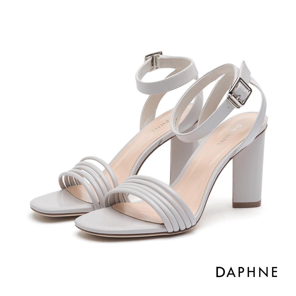 達芙妮DAPHNE 高跟鞋-細帶拼接繞踝馬蹄高跟鞋-米白