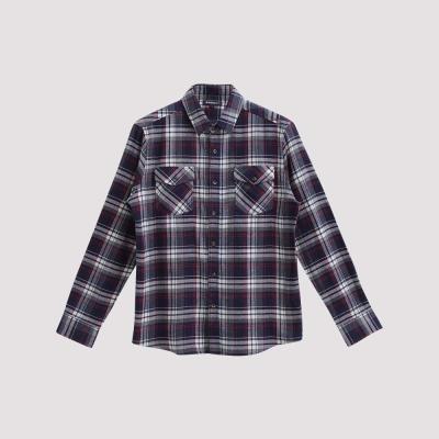 Hang Ten - 男裝 - 雙口袋法蘭絨格紋襯衫 - 藍