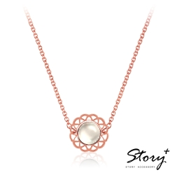 STORY故事銀飾-拾露-蕾絲寶石項鍊-玫瑰金款