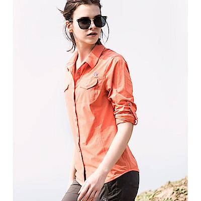 【Wildland 荒野】女彈性格子布長袖襯衫-橘色