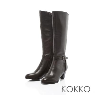 KOKKO-摩登冬日拼接飾帶高跟真皮長靴-注目黑