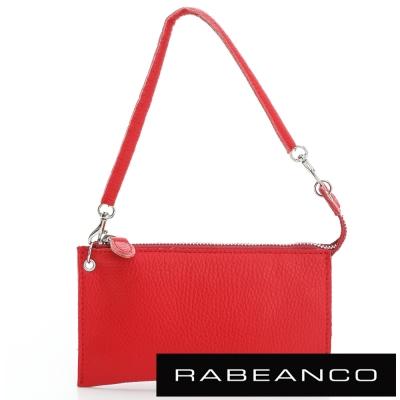 RABEANCO-頂級荔枝紋牛皮手拿包長夾-紅