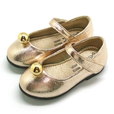 天使童鞋-F5012 金屬爆裂紋公主鞋(小童)-閃耀金