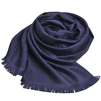 GUCCI ST STEN GG LOGO圖騰羊毛披肩/圍巾(海軍藍)