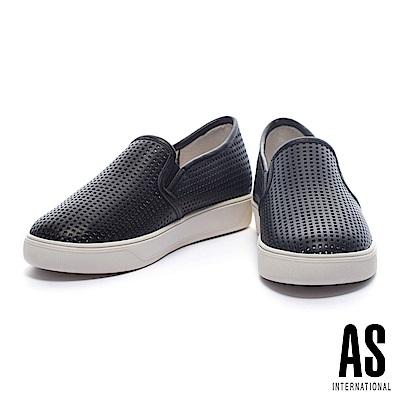 休閒鞋 AS 簡約獨特方形沖孔設計全真皮厚底休閒鞋-黑