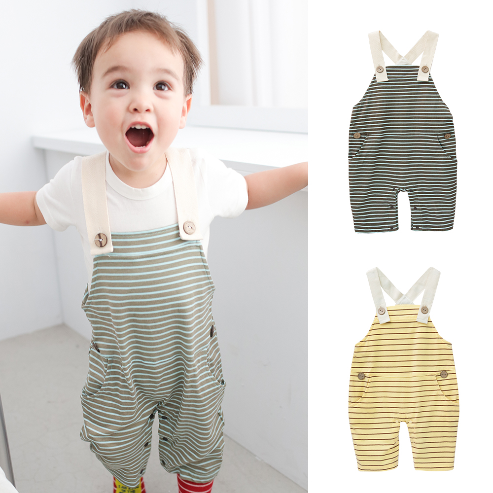 baby童衣 休閒橫條紋吊帶褲 42063