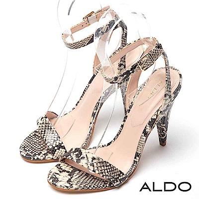 ALDO 原色真皮性感一字金屬釦帶繫踝高跟涼鞋~魅力蛇紋