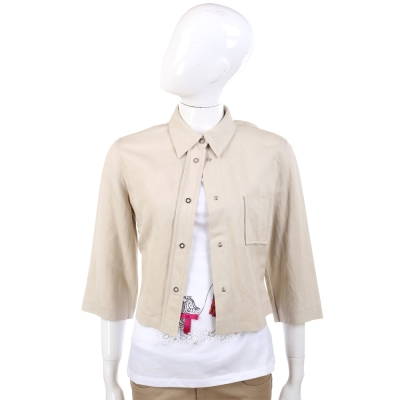 GBR 米色-七分袖排釦襯衫式短版外套