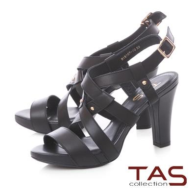 TAS 素面交叉繞踝鏤空高跟涼鞋-性感黑
