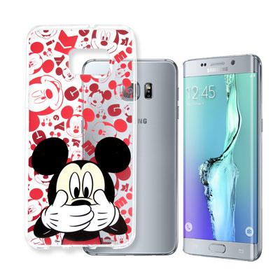 迪士尼 Samsung Galaxy S6 Edge+ 大頭透明手機軟殼(摀嘴米...