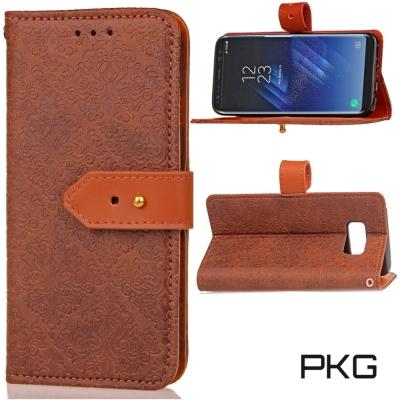 PKG  SAMSUNG S8 (5.2吋) 精緻皮套-側翻皮扣式-咖啡棕