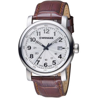 WENGER 都會系列漫步城市紳士錶(01.1041.114)白x咖啡/45mm