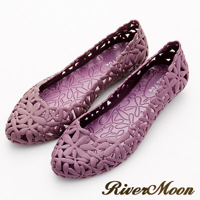River&Moon雨鞋-晴雨二穿簍空雕花Q軟防水低跟鞋-紫系