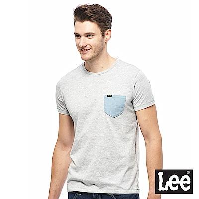 Lee 小口袋短袖圓領TEE-男款-花灰色