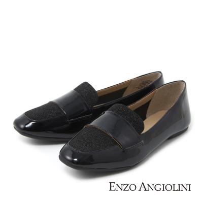 ENZO ANGIOLINI--英倫時尚樂福平底鞋-亮眼黑