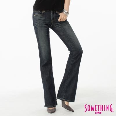 SOMETHING 靴型褲 V.HIP提臀牛仔褲-女-中古藍