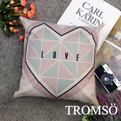 TROMSO品味英倫棉麻抱枕44x44cm U101北歐愛心