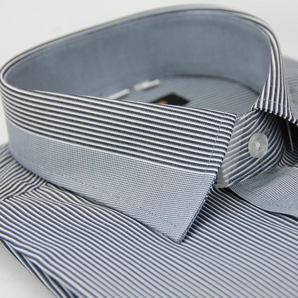金‧安德森 深灰色變化領窄版長袖襯衫