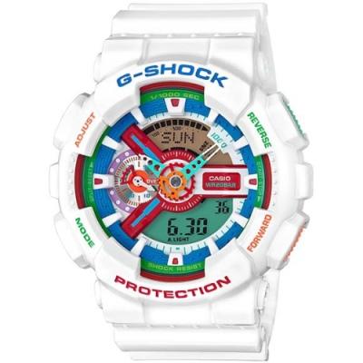 G-SHOCK 超人氣雙顯式撞色腕錶(GA-110MC-7A)-白X彩色/51.2mm