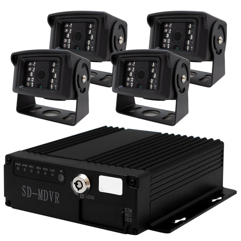 【CHICHIAU】4路720P數位車載防震雙卡監控錄影組(含720P車用鏡頭x4)