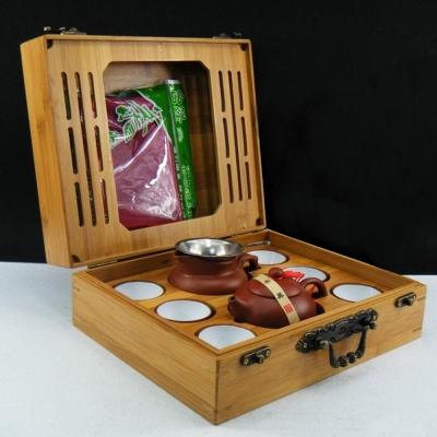品閒 戶外旅行可攜茶具木盒組(紫砂宜壺9件組)