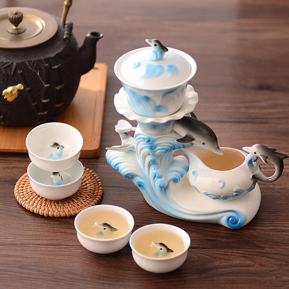 Pure 乘風破浪海豚造型茶具七件組