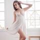 大尺碼 白蕾絲側開襟柔緞睡衣L-2L Ann