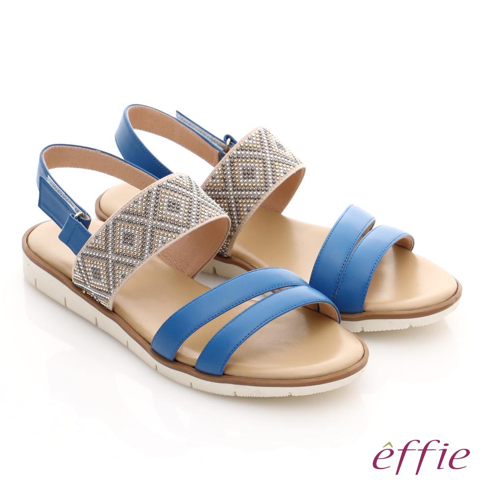 effie 嬉皮假期 真皮串珠魔鬼氈涼拖鞋 藍色