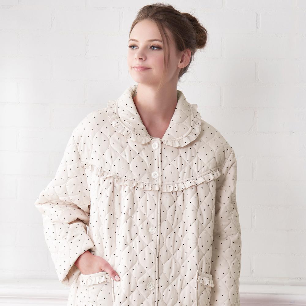 羅絲美睡衣 - 點點糖紗長袖保暖外袍(卡其色)