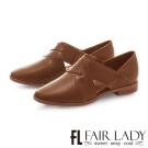 Fair Lady復古交叉繞帶皮革方頭平底鞋 棕