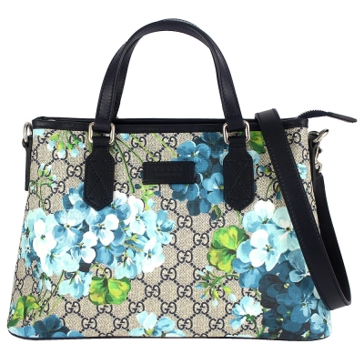 GUCCI BLOOMS 藍色花朵圖騰皮飾邊防水帆布肩背/手提包