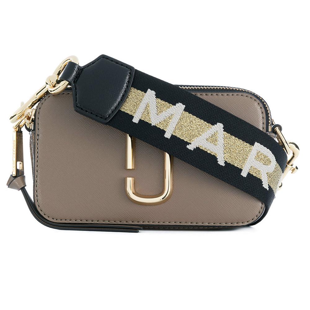 MARC JACOBS Snapshot 品牌背帶防刮牛皮相機包/斜背包-卡其
