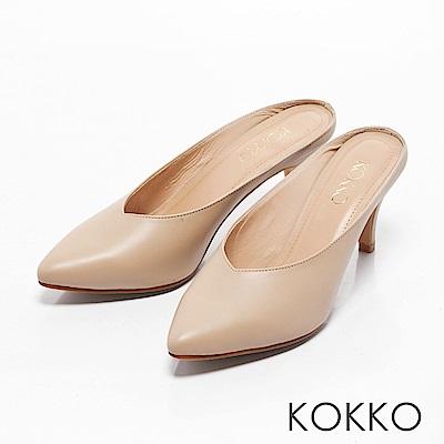 KOKKO -瀟灑隨性真皮高跟穆勒鞋-輕裸膚