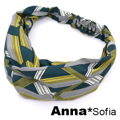 AnnaSofia 三角菱線交叉結 彈性寬髮帶(綠黃系)