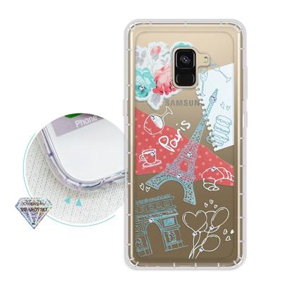 浪漫彩繪 Samsung Galaxy A8+(2018) 水鑽空壓氣墊手機殼(...