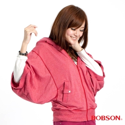 【BOBSON】女款連帽寬袖外套(桃粉13)