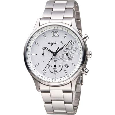agnes b. 巴黎城市戀人三眼計時腕錶(BU8010P1)-銀/39mm