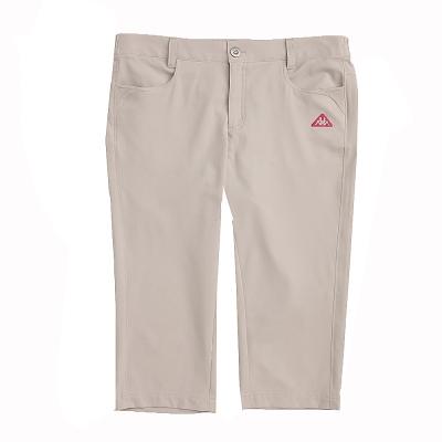 KAPPA義大利 女吸濕排汗平織TEFLON七分褲(寬鬆版)~卡其色