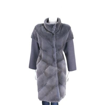 GRANDI furs 灰藍色針織拼接立領皮草大衣(70%WOOL)