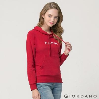 GIORDANO 女裝植絨字母印花口袋造型連帽T恤 - 66 標誌紅