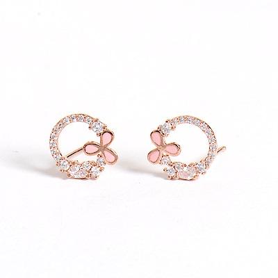 微醺禮物 正韓 鍍K金針 三片粉紅鍍金邊花 鏤空 鋯石圍一圈 簡約精緻可愛春天 耳針 耳環