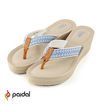 Paidal花草種子耳帶高台厚底氣墊美型拖-淺藍