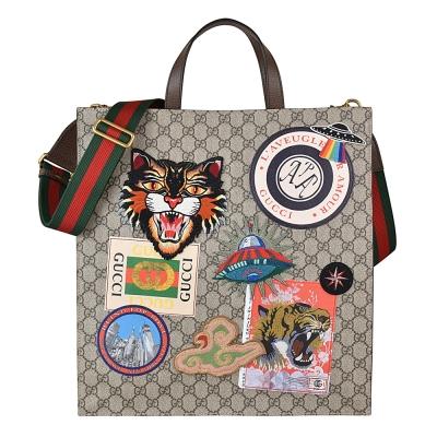 Gucci Supreme GG 氣場貓刺繡圖印PVC皮革綠紅綠織帶手提側背包-咖啡
