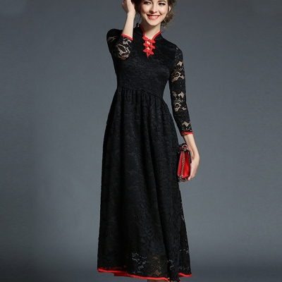 ABELLA 艾貝拉 旗袍開領拼接花形蕾絲長洋裝(二色/S-2XL)