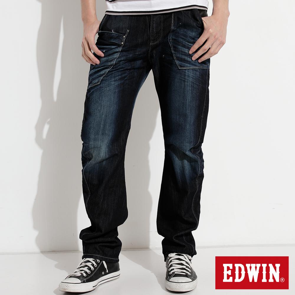 EDWIN  E-FUNCTION 窄直筒牛仔褲-男款(原藍磨)